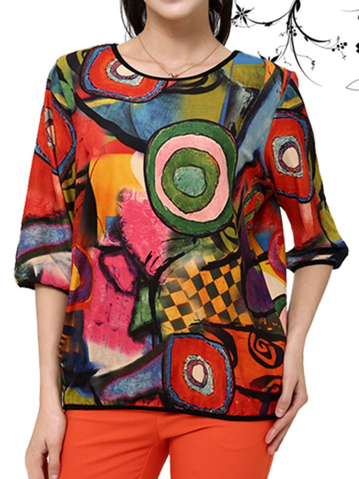 O-Newe Casual Women Colorful Printed Half Sleeve Pullover T-Shirt