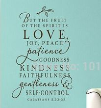 Large size bible verse decal - The fruit of the Spirit - Vinyl Wall Decal art design word sticker ,free shipping z2060(China (Mainland))