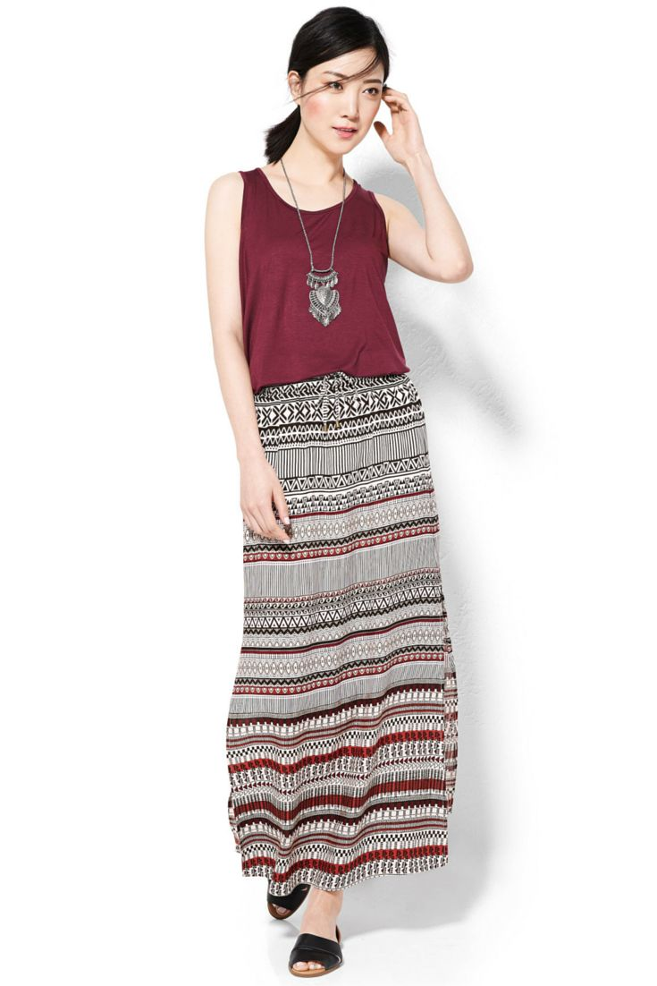 Boho basics updated in a rich, earthy palette. Perfect for the summer festival circuit. #looksforless #Boho #summerfashion #tanktop #skirts