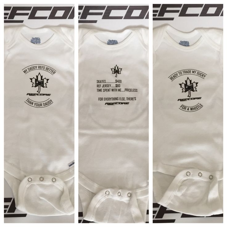 Baby onesies for a referee's baby. Score some brownie points with the wifey or a ref partner who is expecting.  #babyonesies #sportsonesies #hockeybaby #baby #gerber #apparel #babyapparel #hockeyapparel #refereebaby #babyreferee #babyref #referee #hockeyref #onesies #hockey #sports #sportsbaby