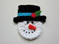 Crochet Snowman Applique Pattern | Crochet SNOWMAN Face Applique