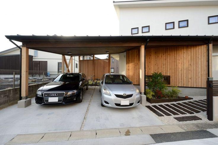 【アイジースタイルハウス】カーポート。台形の敷地を活かしたカーポートスペース。建物と一体化していて、意匠も◎!