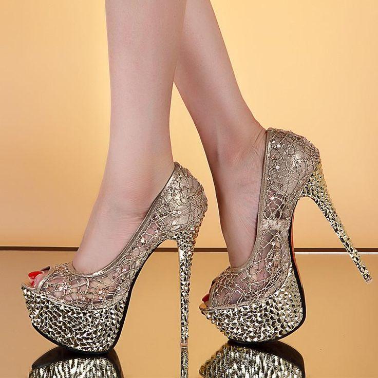 Lace Shinning Rhinestones Peep-toe Platform Stiletto Heels Party Sandals