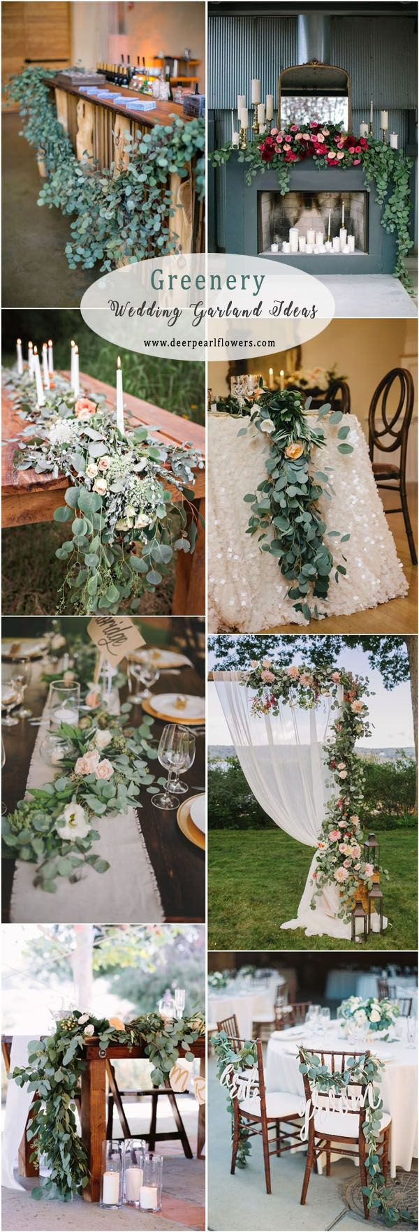 Greenery eucalyptus wedding garland ideas #green #wedding #weddingideas #dpf #deerpearlflowers / see more ❤️ http://www.deerpearlflowers.com/eucalyptus-wedding-decor-ideas/
