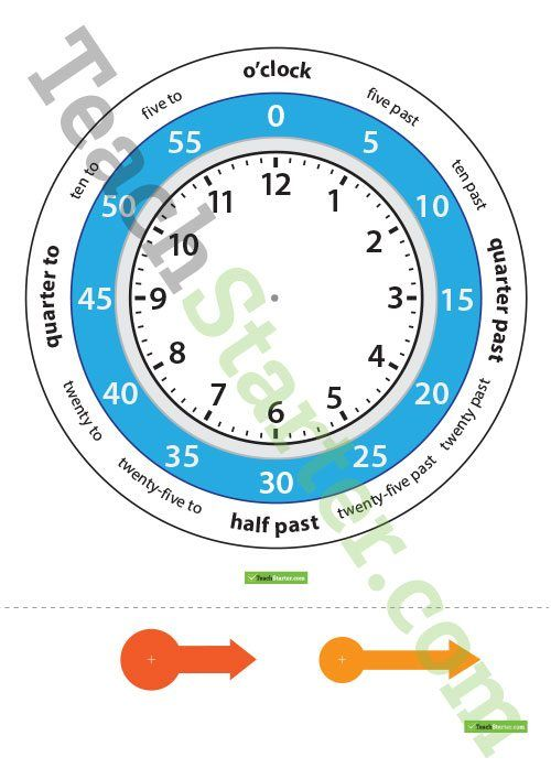 A template for an interactive 12 hour clock that displays hours, minutes and wording.