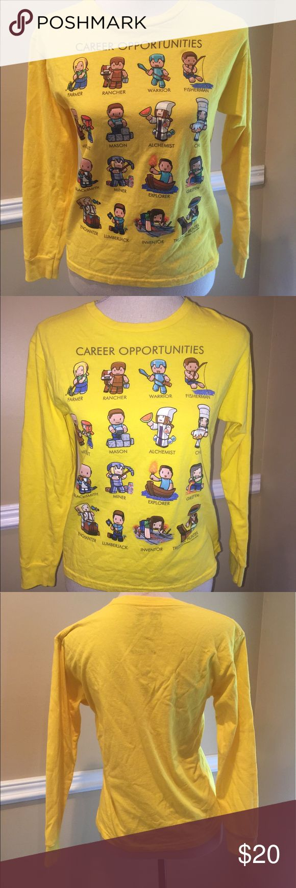 Authentic Minecraft Youth Kids 10-12 EXCELLENT CONDITION!!!!!!! Yellow long sleeve t shirt New without tags. Career opportunities.🎈Make an offer 🎈accepts most offers. Shirts & Tops Tees - Long Sleeve