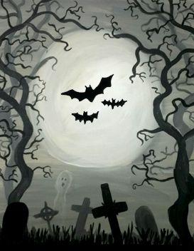 halloween night drawing easy