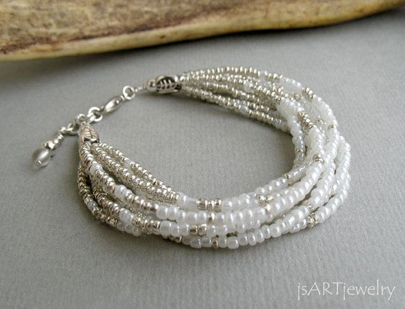 White & Silver Bracelet, Multi Strand Bracelet, beaded bracelet,seed beads bracelet, pearly bracelet, wedding bracelet, bride on Etsy, $24.53