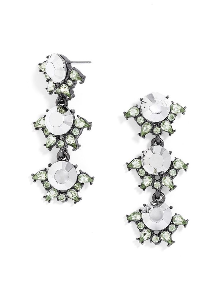 Opalescent gemstones look extra bright with peridot accents in these playful, three-stationed statement earrings.