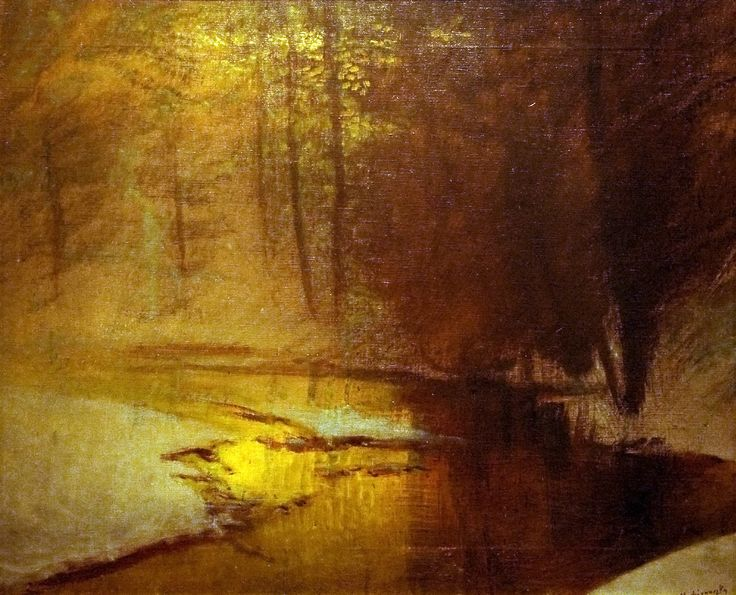 o Golden Lights in the Winter Forest by László Mednyánszky (Hungarian, 1852—1919)