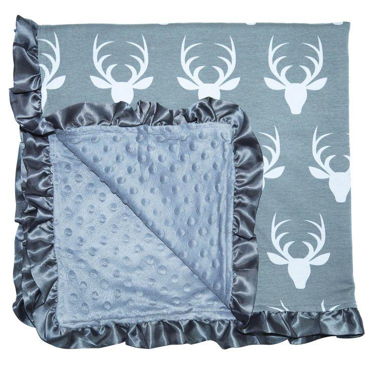 Baby Stroller Blanket Gray Deer Ruffle-Trim