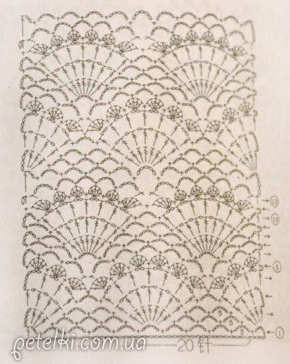Ажурные ракушки крючком. Схема