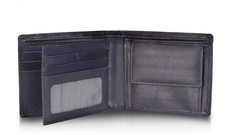 Contarst hand stitched navy blue color Genuine Leather Wallet! A modern take on a classic favourite. -5 card slot -2 Note section -2 Net photo ID and card holder -2 currency sections