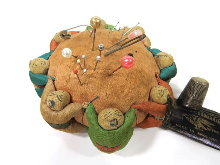 Vintage Pin Cushion with 8 Holding Hands Chinese Asian Children - Sewing Accessory by UrbanRenewalDesigns on Etsy