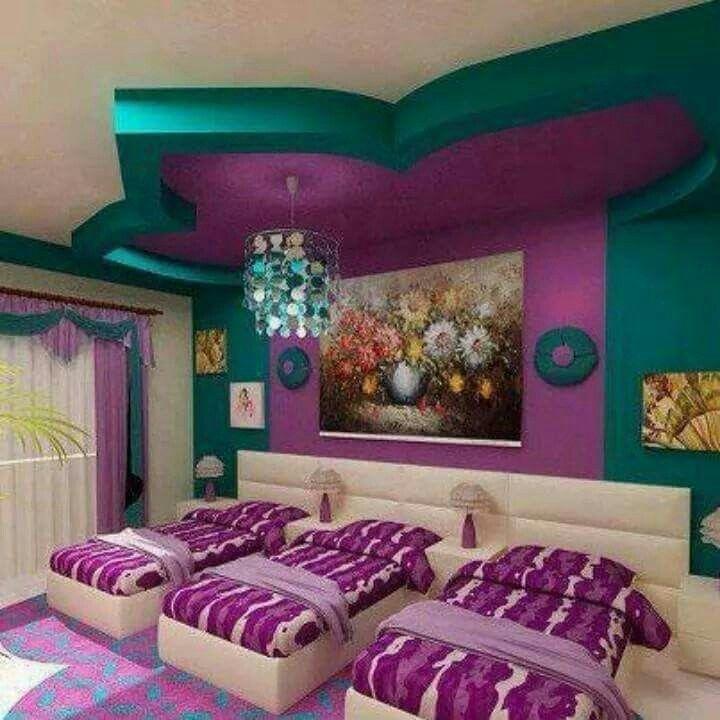 Drillinge Schlafzimmer, Kinderzimmer, Lila Schlafzimmer, Zimmereinrichtung,  Ideen Fürs Zimmer, Erstaunliche Schlafzimmer, Drei Kinder,  Teepartyeinladungen, ...