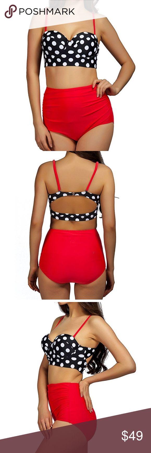 🆕 High Waisted 2 Piece Retro Polka Dot bikini 👙 High Waisted Two Piece Swimsuits for Women Push Up Bathing Suits Bikini Polka Dot Swim Bikinis