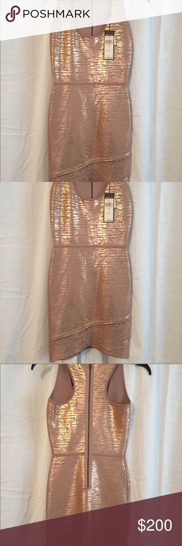 NWT BEBE Metallic Gold Bodycon dress w zipper NWT, muted metallic gold bodycon w back zipper. Bought for an event and never worn- still has tag $368.. bebe Dresses
