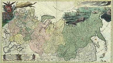 Генеральная карта Российской империи 1745 г. , гравюра на меди, акварельная раскраска.