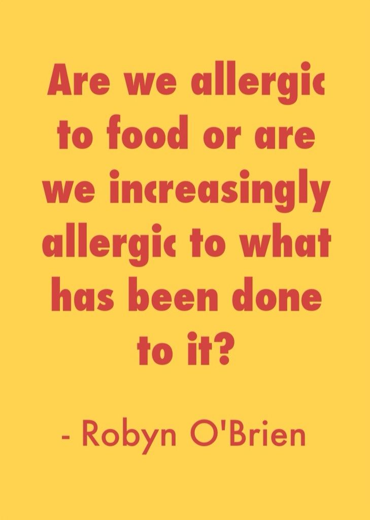 "In her article ""Back to School: 7 Tips for Kids with Food Allergies,"" http://blogs.prevention.com/inspired-bites/2013/08/14/back-to-school-7-tips-for-kids-with-food-allergies/ Robyn O'Brien pointed out how quickly US food allergy rates have risen since the late '90s. And she wondered if the increase could have anything to do with U.S. food now being ""so hopped up on so many artificial ingredients, artificial growth hormones, dyes and genetically engineered ingredients."""