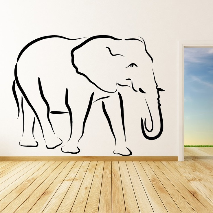 Elephant Outline Animals Wall Art Stickers