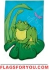 Frog & Dragonfly Garden Flag