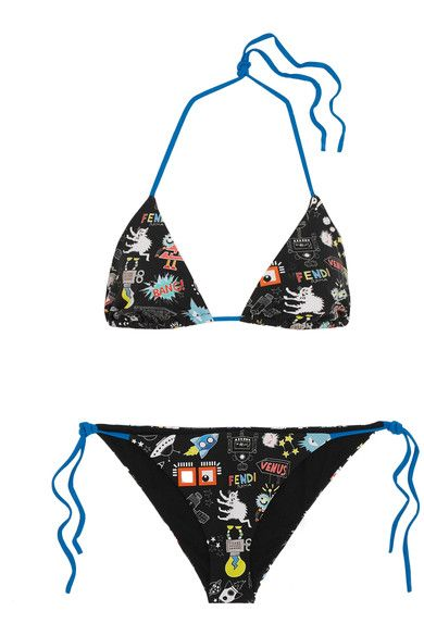 Fendi - Printed Triangle Bikini - Blue - IT44