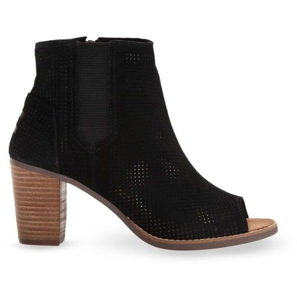 Toms Black Majorca Peeptoe Booties - Women's ($98) ❤ liked on Polyvore featuring shoes, boots, ankle booties, black, peep toe ankle booties, short boots, toms booties, black bootie and black booties