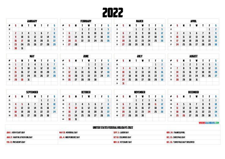 Free Printable 2022 Calendar with Holidays - 6 Templates ...