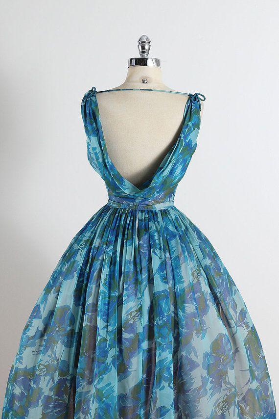 Swept Away . vintage 1950s dress . vintage por millstreetvintage