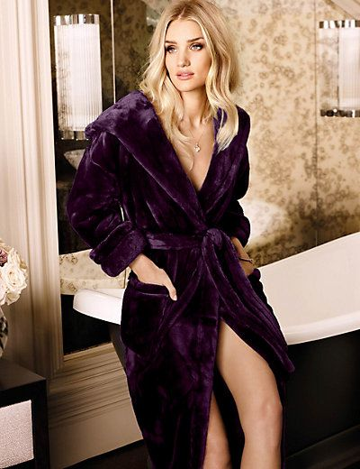 Cover up in the evening with this pretty and relaxed dressing gown. This is part of a vintage-inspired range designed in collaboration with supermodel Rosie Huntington-Whiteley. Hooded Luxury Dressing Gown   M&S