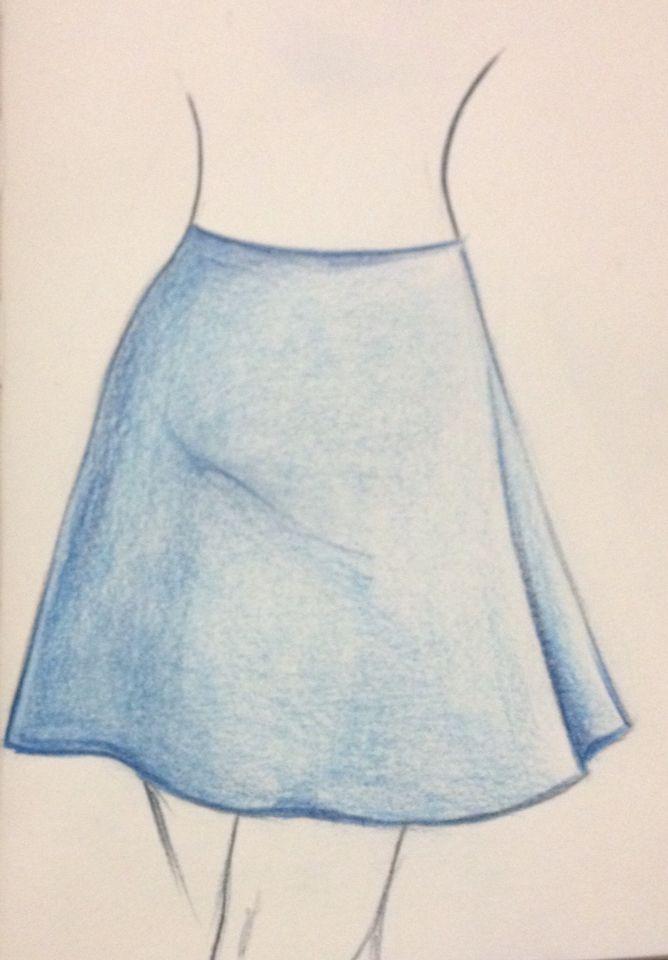 Disegno per cartamodello: gonna di linea svasata, lunghezza sopra al ginocchio