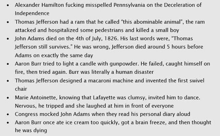 "i love history /// Was it a joke that they misspelled ""Declaration"" when talking about Hamilton misspelling ""Pennsylvania""?"
