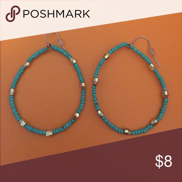 Hoop earrings Turquoise and gold beaded hoop earrings Jewelry Earrings