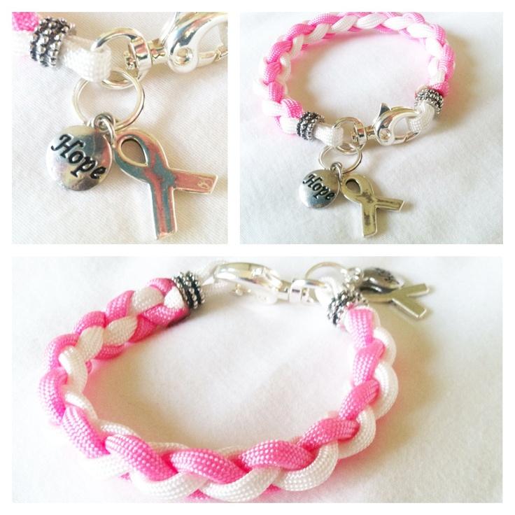 A Paracode Survival Bracelet in honor of our TRUE survivors & fighters!    [Pink & White Paracord Charm Bracelet]