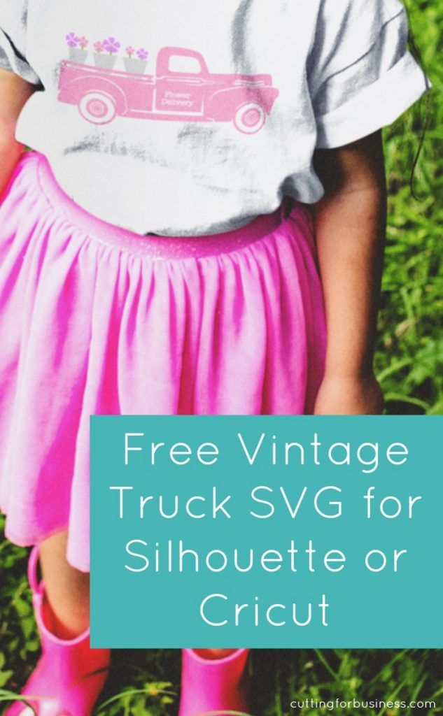 Free SVG Flower Delivery Vintage Truck for Silhouette Cameo or Cricut Explore - by cuttingforbusiness.com