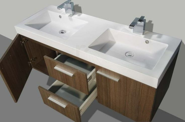 € 849,- Lambini Designs California badmeubel - grey oak - 131x48x55cm - 2 kraangaten #badkamermeubel #131cm #Diverse kleuren #design