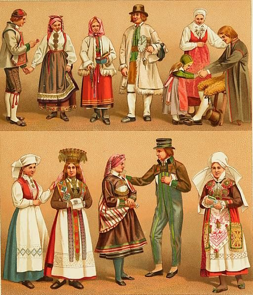 swedish traditional clothing bunader from 1800 s