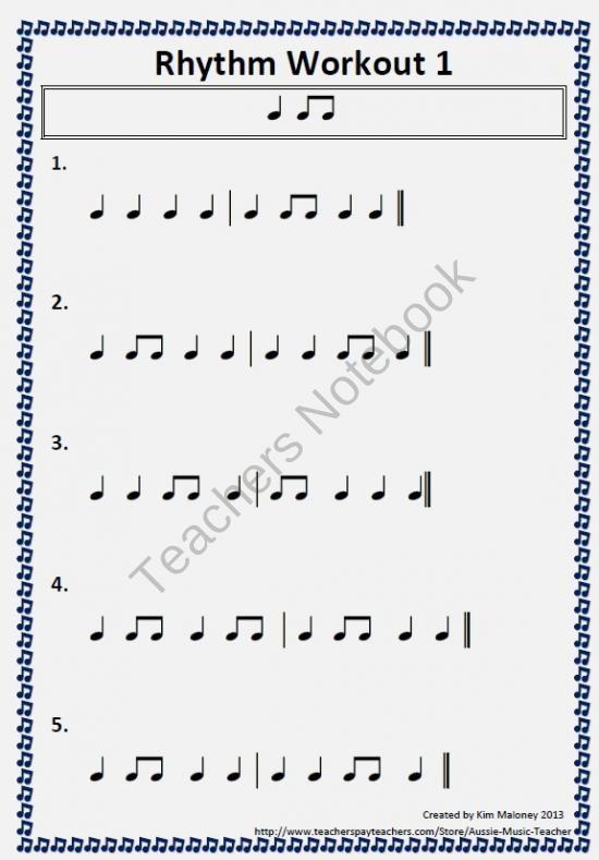 FREE Rhythm Workout Free Download from MusicTeacherResources on TeachersNotebook.com (3 pages)