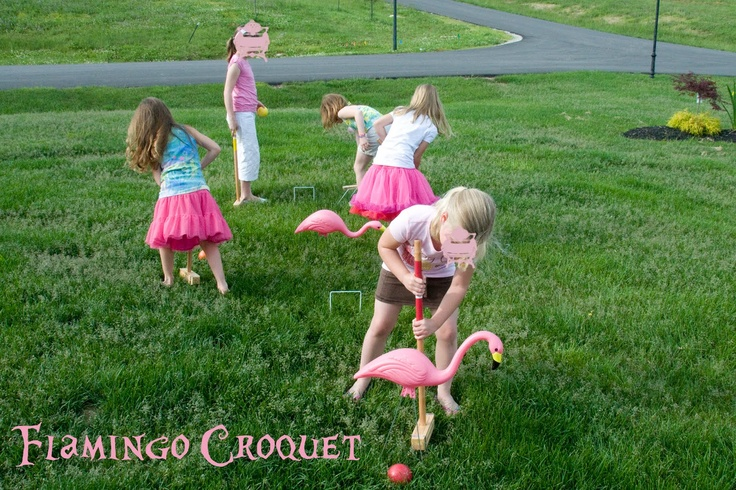 Flamingo croquet - pink skirts optional! Could keep this going with pink flamingo stirrers in the drink glasses, pink feather boas as party favors...