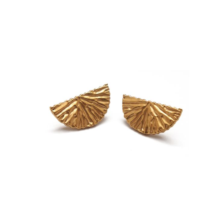 Dune Stud Earrings. Gold plated Silver. By Alexandra Dodds.