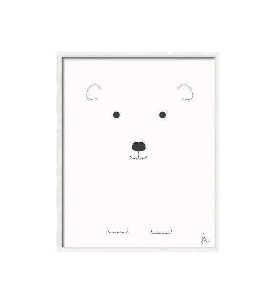 Black and white nursery art- INSTANT DOWNLOAD- Printable art- Polar bear graphic illustration- kids room decor- 8x10 in digital pdf file