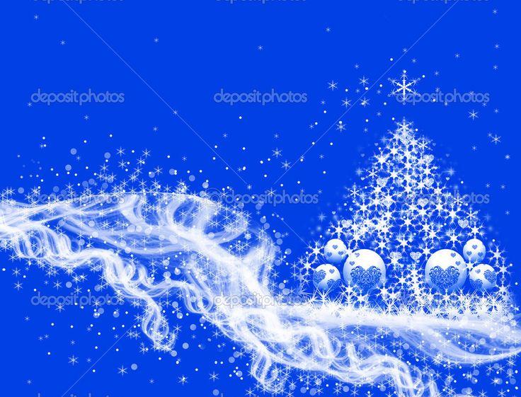 nieve y rbol de navidad en azul u imagen de stock