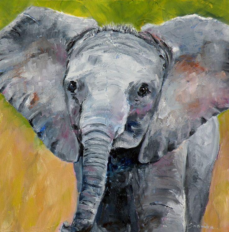 "Baby elephant | Baby Elephant"" original oil elephant portrait © Saundra Lane ..."