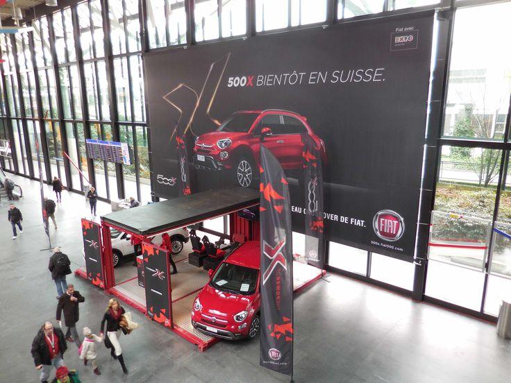 #Impression de #bâche PVC #grandformat pour FIAT a #genève aéroport - wide format #print #banner www.remarq.ch