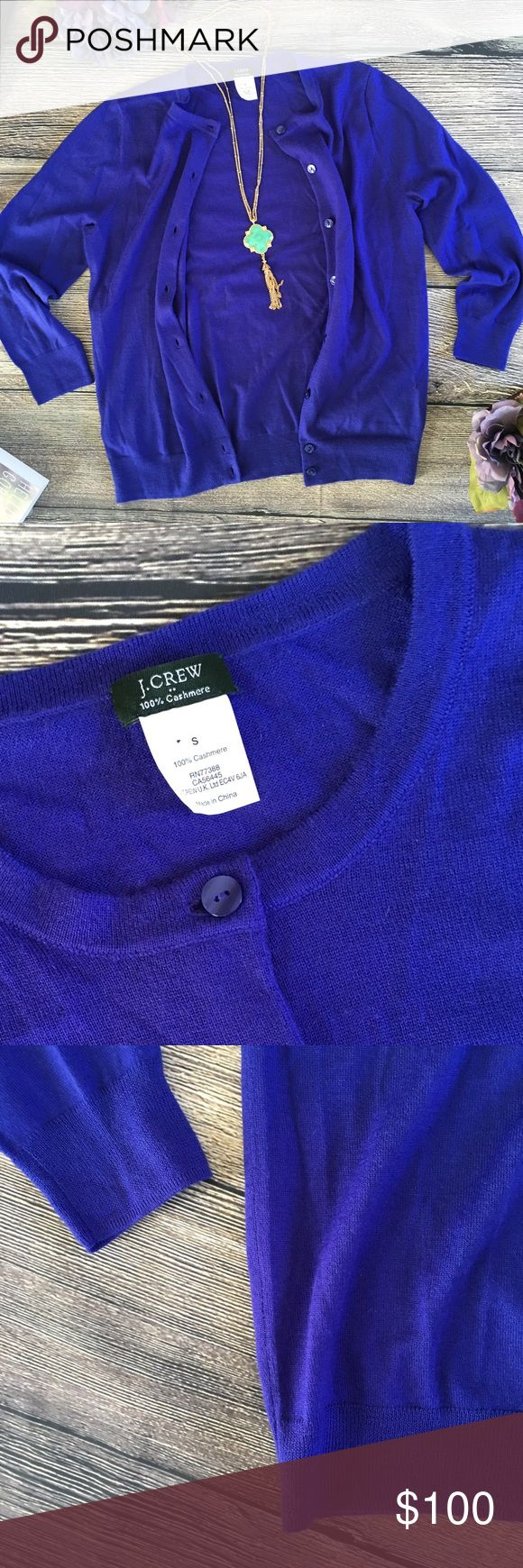 J. Crew 100% Cashmere Cardigan Byzantine Blue Maggie. She's a beautiful lightweight 100% cashmere with a soft handfeel that is so luxurious. She's a classic that will never go out of style. With a crew neckline, this cozy gal is an essential element for every closet and cashmere of this quality only gets better over time. With proper care, she will take good care of you for years to come. Wrap yourself up in her beautiful shade of Byzantine Blue. Ribbed cuff and hem. Size small. Like new…