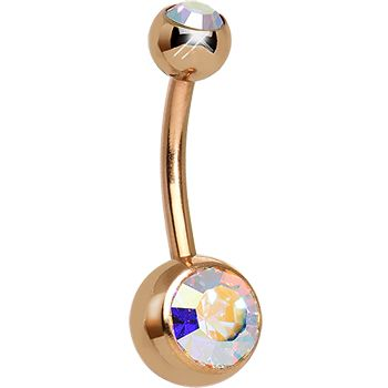 Aurora CZ Rose Gold Plated Belly Ring #piercing #bellyring #gift #stockingstuffer #bodycandy $9.99