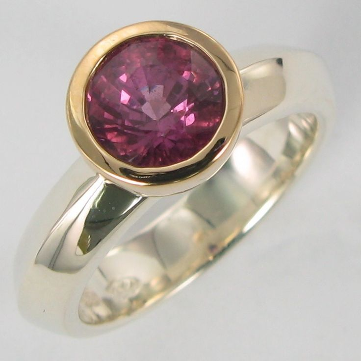 Grace Ring pink Tourmaline 14ct Y gold/ss