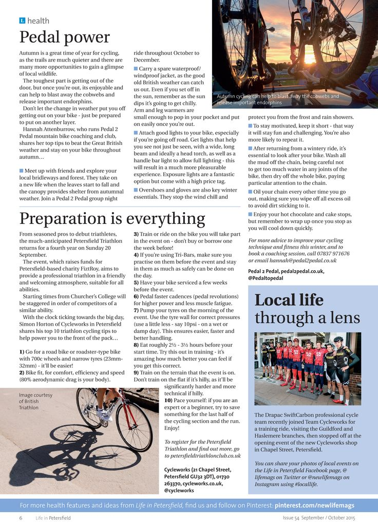 Pedal power - autumn cycling inspiration, plus top training tips for the Petersfield Triathlon. #locallife #Petersfield #Hampshire #health #cycling #advice #ideas #inspiration #triathlon