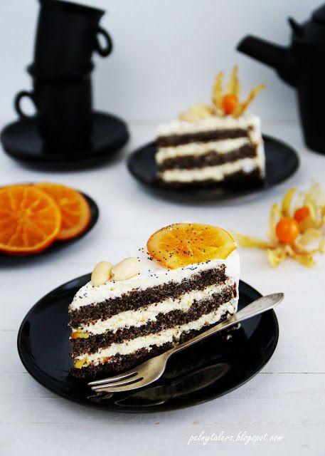 Tort makowy z kremem śmietankowo-czekoladowym i pomarańczowo-kardamonową nutą - Poppy seed layer cake