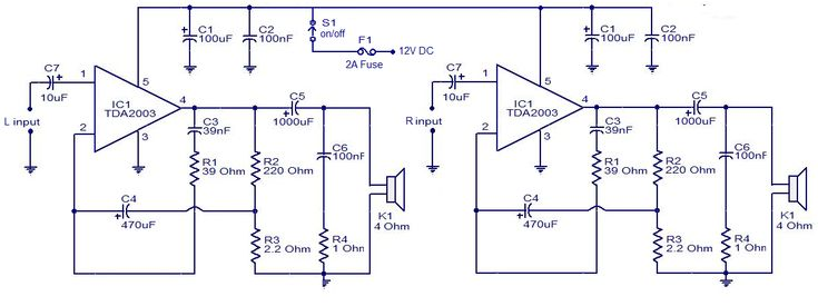 car audio amplifier using tda2003 ic